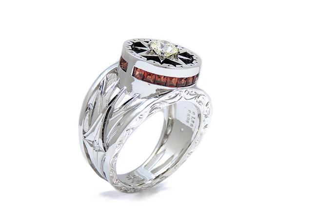 Y様 (WG アントワープブリリアント八角形ダイヤで作る羅針盤と光のリング)